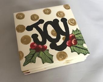 JOY! Hand-painted ceramic tile coasters - set of four