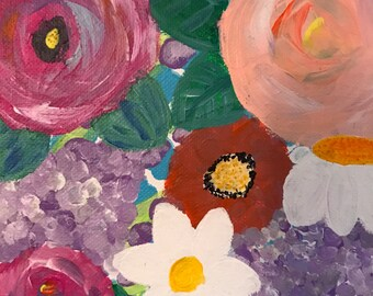"""Flower Garden 6""""x6"""" Abstract Acrylic Painting"""