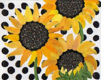 """Sunflowers on polkadots acrylic abstract painting 8"""" X 10"""""""
