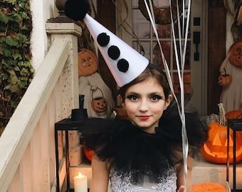 Classic Clown Hat - Black and White Circus Costume - Halloween Costume - Cirque Costume - Retro Circus - Vintage Clown Hat