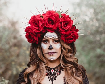 Day Of The Dead,  Red Rose Flower Crown, Gold Halo Crown, Bridal Crown, Crown Headband, Flower Headdress, Sugar Skull Costume