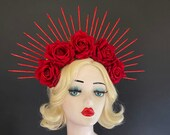 Red Halo Crown, Velvet Rose Hair Accessory, Sugar Skull Flower Crown, Día de los Muertos Head Dress, Valentine 39 s Day Wedding, Virgin Mary