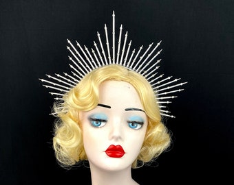 """4"""" Silver Halo Headpiece with Crystals, Theatrical Costuming, Virgin Mary, Bridal Crown, Festival Wear, Halloween Costume"""