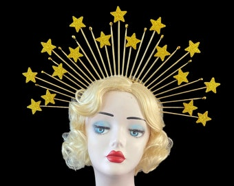 Gold Star Crown, Theatrical Costuming, Star Headband, Bridal Crown, Festival Wear, Hedy Lamar Costume, Gold Halo Crown