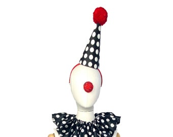 Clown Hat, Black, White, and Red, Classic Circus, Halloween Costume, Adjustable Headband, Theatrical Costuming,