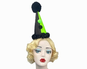 Neon Green and Black Clown Hat, Cirque Costume, Birthday Party Hat, Kids, Adults, Carnival, Burlesque Headpiece, Circus Hair Accessory