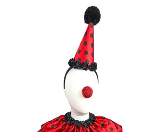 Black and Red Polka Dot Clown Hat, Cirque Costume, Birthday Party Hat, Kids, Adults, Carnival, Scary Clown, Circus Hair Accessory