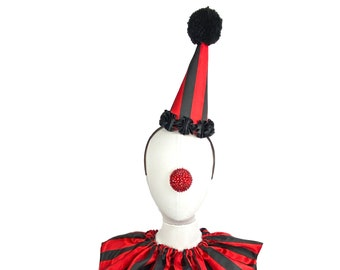 Black and Red Stripe Clown Hat, Cirque Costume, Birthday Party Hat, Kids, Adults, Carnival, Scary Clown, Circus Hair Accessory
