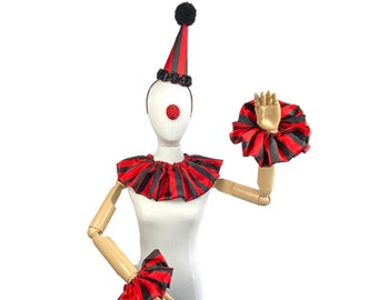 Red and Black Stripe Clown Outfit, Hat, Collar, and Cuffs, Halloween Costume, Birthday Party Hat, Kids, Adults, Circus Costume