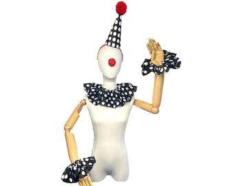 Black and White Polka Dot Clown Costume Set, High Fashion, Halloween Costume, Clown Hat, Clown Collar, Cuffs, Vintage Clown, Circus Costume