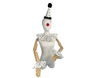 Tafetta White and Black Polka Dot Clown Costume Set, Halloween Costume, Clown Hat, Clown Collar, Cuffs, Vintage Clown, Circus Costume