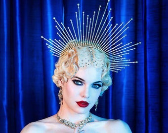 """7"""" Gold Halo Headpiece with Crystals, Beads, High Quality Theatrical Costuming, Virgin Mary, Bridal Crown, Festival Wear, Halloween Costume"""