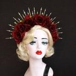 Dark Red Rose Flower Crown,  Gold Halo Crown, Bridal Crown, Crown Headband,Day Of The Dead Headdress, Virgin Mary Costume, Festival Wear