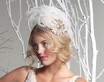 Unique Ivory Birdcage Veil, Feather Fascinator, Bridal Head Piece, Hair Accessory, Hat, Pink, Swarovski Crystal Flower, Batcakes Couture