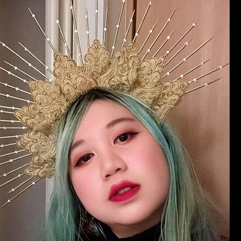 Virgin Mary Bridal Headdress Saints 6 Gold Spikes Halo Headpiece Large Goddess Crown Headband with Crystals Burning Man