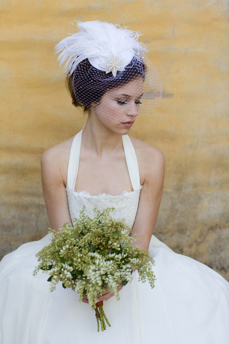Batcakes Couture Bridal Hat Ivory Birdcage Veil Weddings Silver Screen Star Feather Fascinator