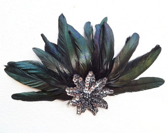 Black and Silver Feather Head Piece, Fascinator, Halloween Wedding, Silver Star, Hair Accessory, Batcakes Couture