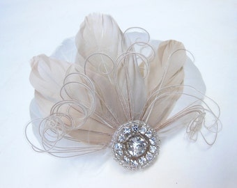 Bridal Hair Accessory, Ivory White, Champagne Feather Fascinator, Hair Clip, Bridal Party, Crystal Headpiece, Unique Bridal, 1920s Flapper