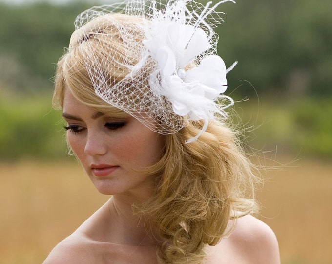 Floral Hair Accessory - Ivory Bridal Veil - Feather Fascinator - White Birdcage Veil - Veil with Fascinator - Blusher Veil - Pearl Headpiece