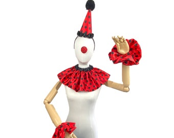 Red and Black Polka Dot Clown Outfit, Hat, Collar, and Cuffs, Halloween Costume, Birthday Party Hat, Kids, Adults, Circus Costume