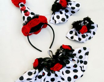 Halloween Costume, Clown Costume, Circus Costume, Adult, Children, Black, White, Red, Polka Dot, Collar, Cuffs, Hat, Batcakes