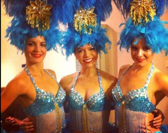 Showgirl Feather Head Dress, Costume Accessory, Head Piece, Gold, Turquoise, Blue Ostrich, Any Color, Custom, Batcakes Couture