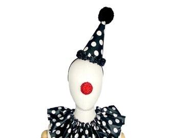 White and Black  Polka Dot Clown Hat, Halloween Costume, Vintage Clown, Burlesque, Circus Costume, Clown Headpiece, Mini Clown Hat