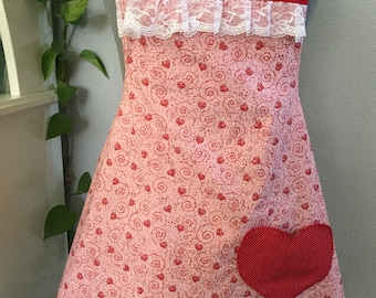 Hearts and Glitter Flirty Valentine apron/lace/pink/red/sparkle/