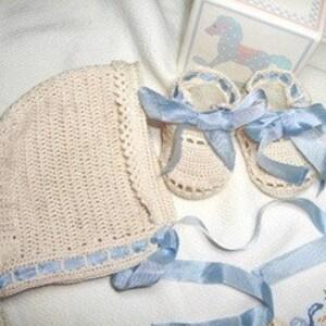Baby Crochet Hat Bootie Set in Navy Orange Auburn