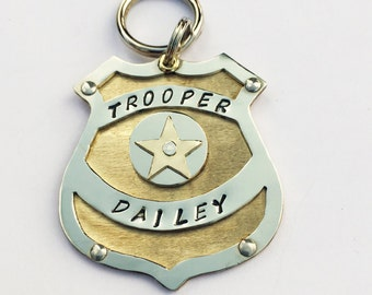 Unique POLICE BADGE Dog Tag-Custom Hand Stamped Dog Collar Tag-Law Enforcement Dog Tag-Personalized Pet ID Police Tag-Officer Dog Tag