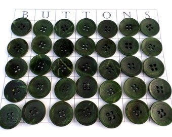 35 Big Green VINTAGE Buttons