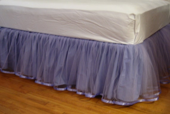Queen Size Tulle Bed Skirt In Lavender, Purple Queen Size Bed Skirt