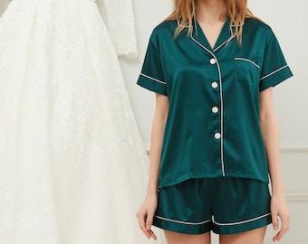 Wedding Day Satin Matching Pajamas Sets- Bridesmaid Gift, Bride Getting Ready Outfit, Bridesmaid Proposal, shorts with short sleevePJs,