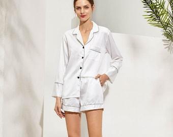 Wedding Day Satin Matching Pajamas Sets- Bridesmaid Gift, Bride Getting Ready Outfit, Bridesmaid Proposal, shorts with long sleevePJs,