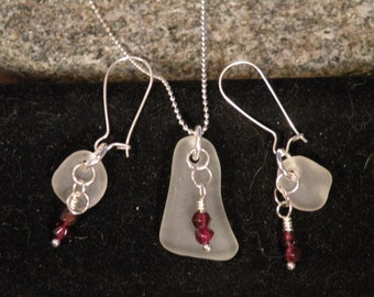 Charming Sterling Silver Sea Glass Set
