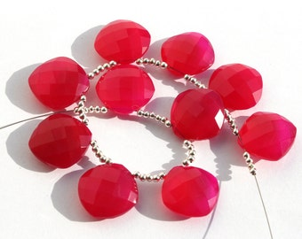 10 Pcs 14mm Finest Quality Hot Pink Chalcedony Faceted Cushion Briolettes, Chalcedony Briolettes Semi Precious Gemstone Beads Po2