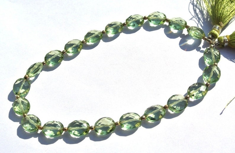 Wire Wrapping 21 Pcs 10x8mm Green Amethyst Quartz Faceted Oval Briolettes DIY Jewelry Making Loose Gemstone Beads Earrings Pair