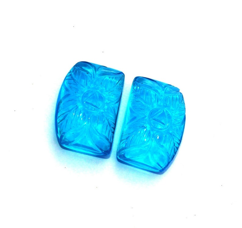2 Pcs 21x15mm Swiss Blue Quartz Hand Carved Flower On Fancy Briolettes DIY Jewelry Making Carved Gemstone Beads Select Drill Hole CQ29