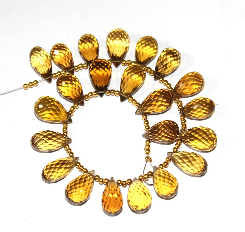 Semiprecious Gemstone Wire Wrapping Beads 22 Pcs 14-16mm AAA Natural Beer Quartz Faceted Teardrop Briolettes DIY Jewelry Making Beads
