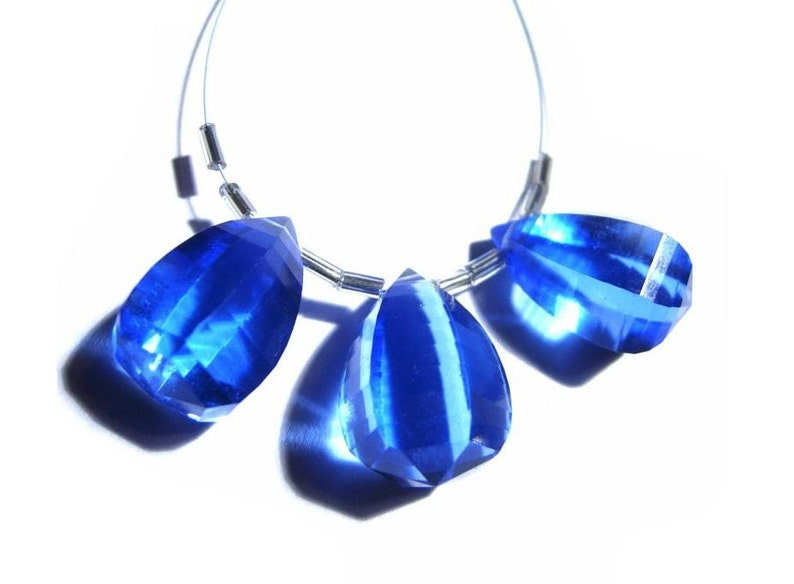 Wire Wrapping Earrings Pair Semiprecious Gemstone Beads DIY Jewelry Making 3Pc 22x15mm AAA Tanzanite Quartz Faceted Fancy Briolettes
