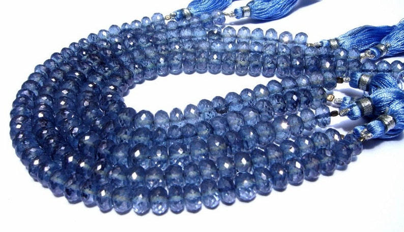 Wire Wrapping Beads -Beading 8 7mm Blue Mystic Quartz Micro Faceted Rondelles Earrings Pair DIY Jewelry Making Beads Loose Gemstone