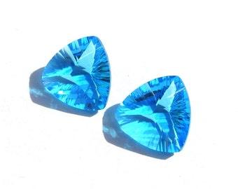2Pcs 1 Match Pair AAA Swiss Blue Quartz Concave Cut Trillion Briolette Size 14x14mm Concave Cut Gems (Choose The Drill Hole)