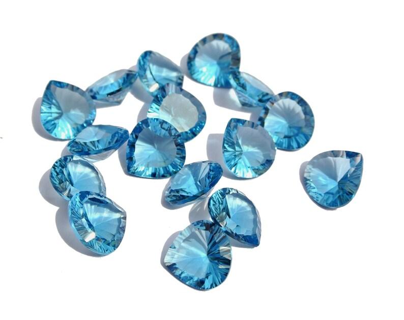 5 Match Pair,Super Finest Quality,Opal Blue Quartz Faceted Heart Shape Briolettes,Size 14mm