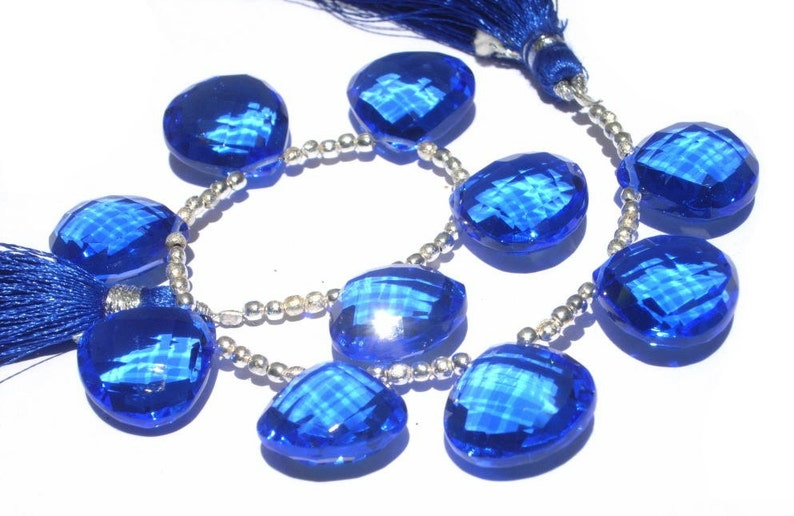 Gem Blue Kyanite Faceted Heart Briolettes Beads 20