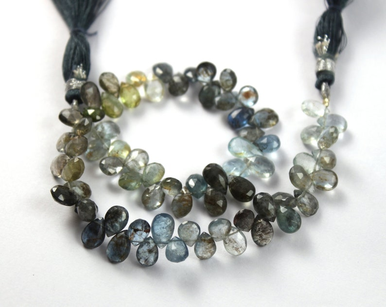 10 Strand 71 Pcs 6x5-9x5mm Natural Moss Aquamarine Faceted Pear Briolettes Semiprecious Gemstone Wire Wrapping DIY Jewelry Making