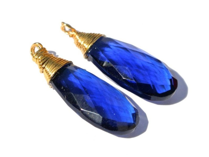 Pair For Earrings Gemstone Charm Pendant 2Pcs 30x12mm 22kt Gold Vermeil Wire Wrapped AAA Royal Blue Quartz Faceted Pear Briolettes
