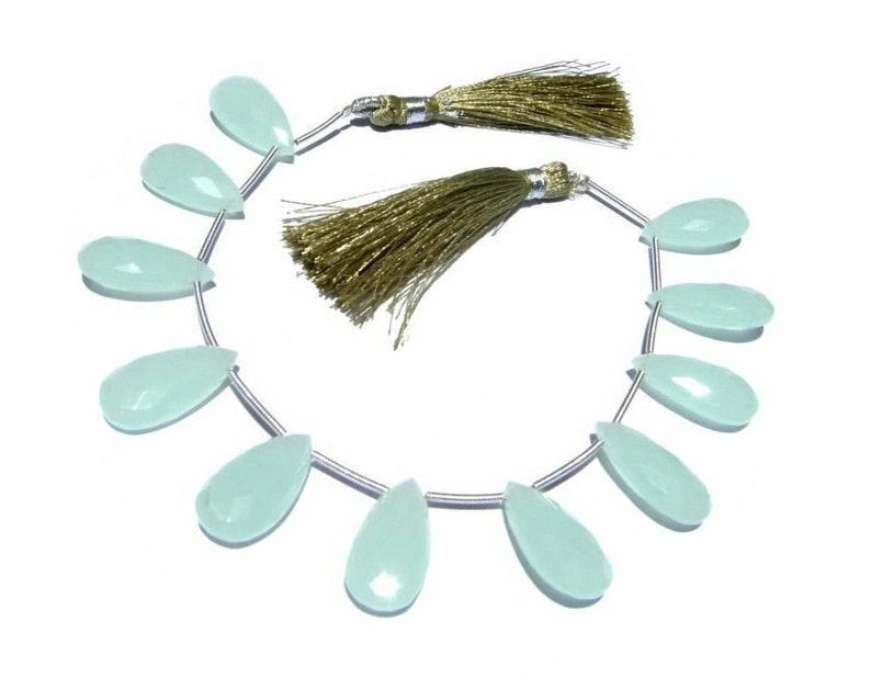 Loose Gemstone Briolettes Wire Wrapping Earrings Pair 10Pcs 20x10mm Aqua Chalcedony Faceted Elongated Pear Briolettes Jewelry Making
