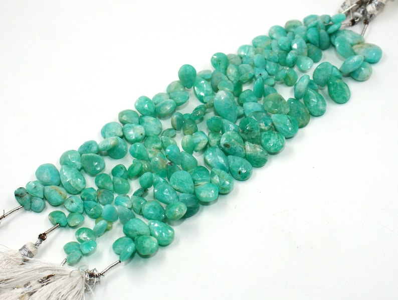 8x6-15x12mm Natural Amazonite Beads Wholesale Gemstone Beads Semi Precious Gemstone Beads 6 Natural Amazonite Faceted Pear Briolettes