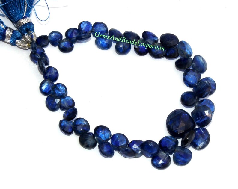 Semiprecious Gemstone Beads Beading Jewelry making Wire Wrapping 24Pcs 5-8mm Natural Deep Inky Blue Kyanite Faceted Heart Briolettes