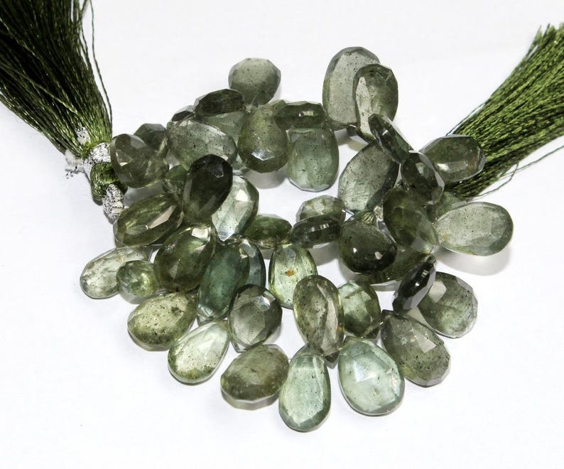 48 Pcs 7x10-9x16mm Semiprecious Gemstone Wire Wrapping Beads Natural Moss Aquamarine Faceted Pear Briolettes DIY Jewelry Making Beads